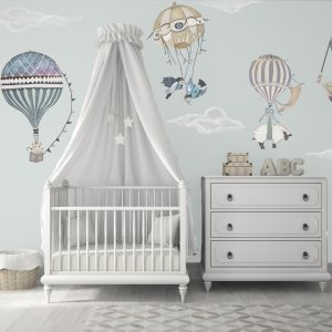 Hot Air Balloon Nursery Pink Animals